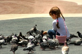 Girl-feeding-pigeons-by-Carlos-Gotay