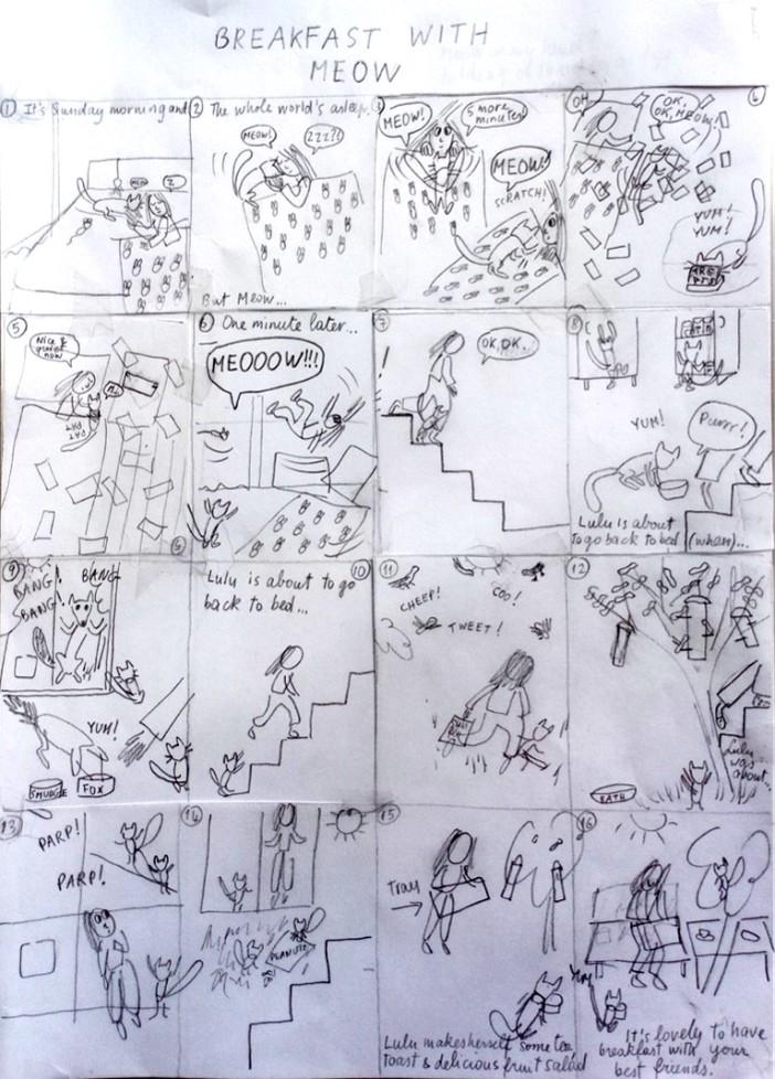 Meow's breakfast storyboard pix